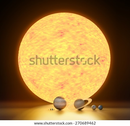 realistic model of our solar system scale - stock photo