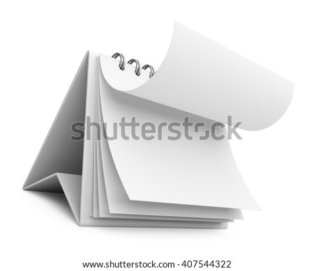 realistic paper calendar. 3D icon isolated - stock photo