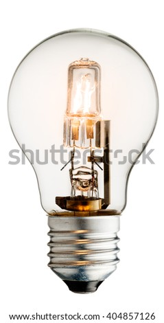 Realistic photo image of a turned on halogen light bulb isolated on a white background and with a clipping path - stock photo