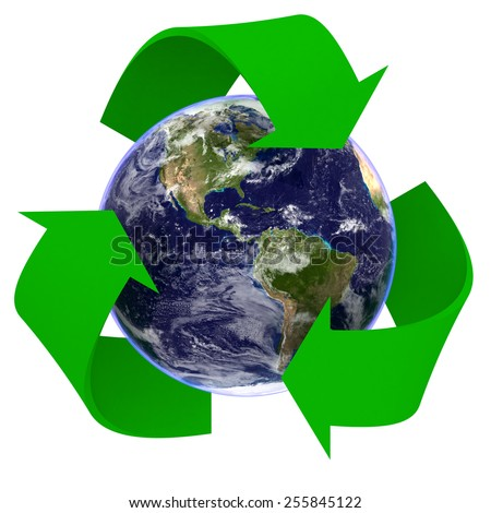 Realistic Planet Earth Recycling Symbol - Elements of this image furnished by NASA - stock photo