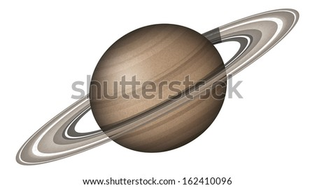 Realistic planet Saturn isolated on white background. Elements of this image furnished by NASA  - stock photo