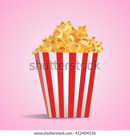 Realistic Pop Corn in Stripped Tube Package - stock photo