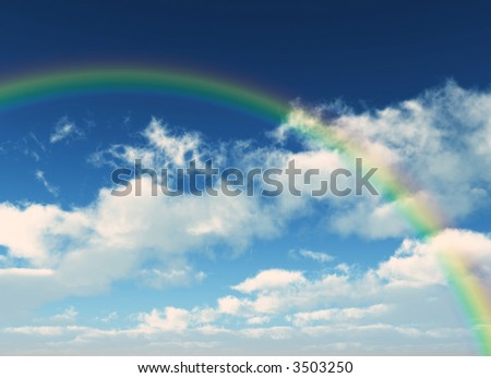 realistic rainbow between the clouds - stock photo