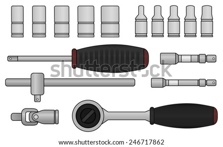 Realistic raster ratchet and socket icon set. Mechanic service kit. Color clip art isolated on white - stock photo
