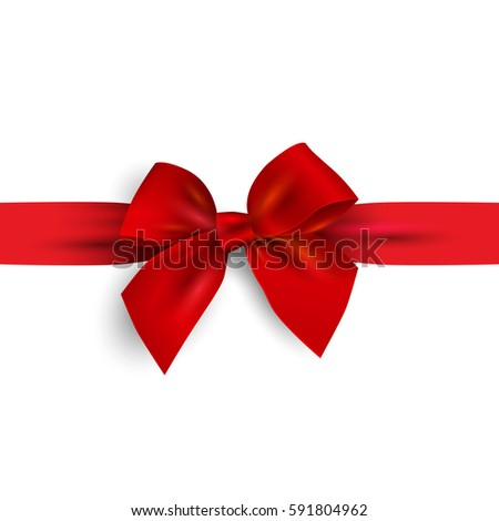 Realistic Red bow with ribbon isolated on white