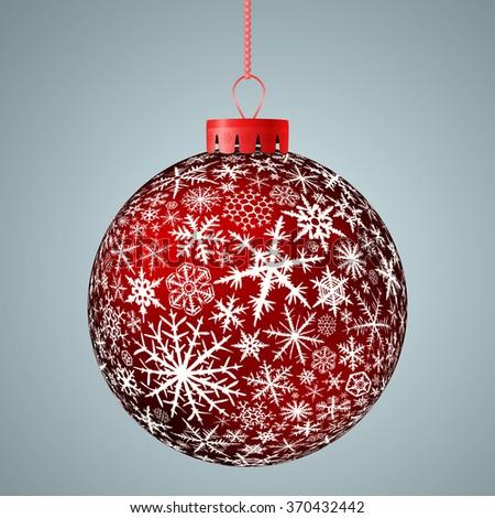 Realistic red Christmas ball. Raster version. - stock photo