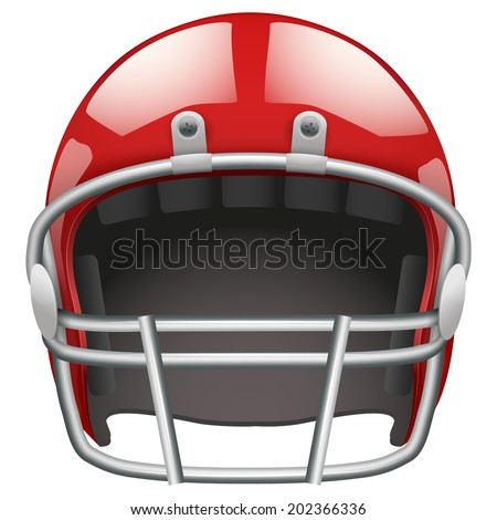 Realistic red helmet for American football. Equipment for protection of player. Isolated on background. - stock photo