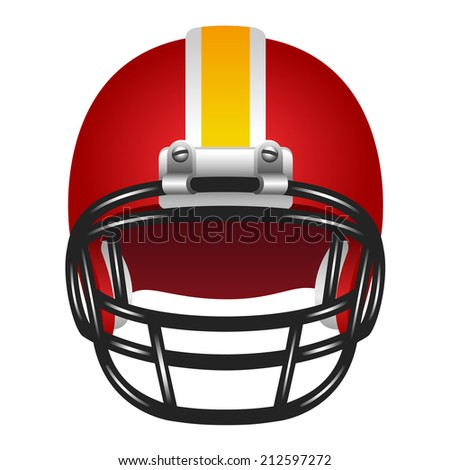 Realistic red helmet with yellow stripe for football game - stock photo
