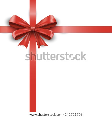 Realistic red ribbon bow with tails isolated on white background.  - stock photo
