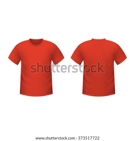 Realistic red t-shirt mockup - stock photo
