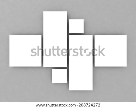 realistic render of collage photo frames on wall - stock photo