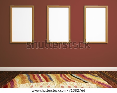 realistic render of  room with three photo frames on brown wall - stock photo