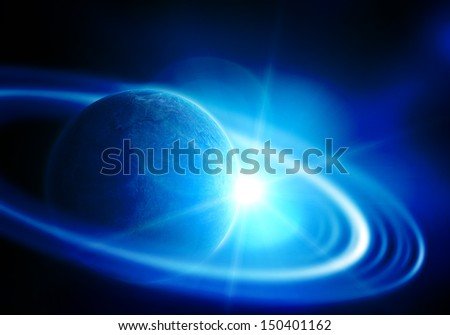 realistic saturn in open space - stock photo