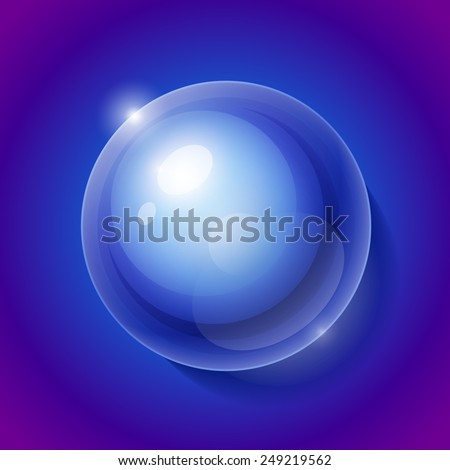 Realistic shiny transparent water drop sphere on blue background illustration