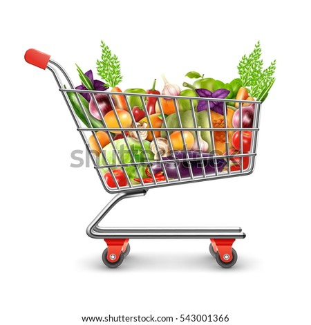 Realistic shopping basket full of organic products with fresh fruits vegetables and greens for healthy nutrition  illustration
