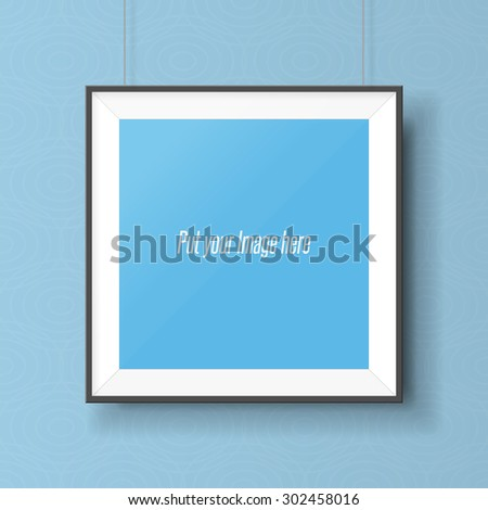 Realistic square picture frame on the wall. Empty Template ready for your Design - stock photo