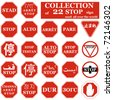 Realistic STOP sign collection from different countries. - stock photo