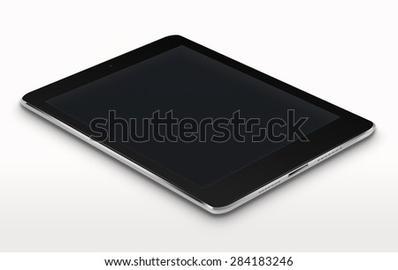 Realistic tablet computer ipade style mockup with black screen on gray background. Highly detailed illustration. - stock photo