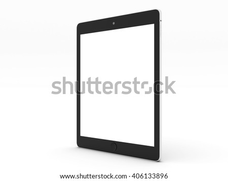 Realistic tablet computer mockup with white blank screen for design isolated on white background. Highly detailed. 3d illustration. - stock photo