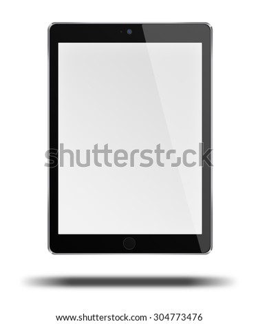 Realistic tablet computer pc in ipade style mockup with blank screen isolated on white background. Highly detailed illustration. - stock photo