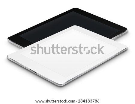 Realistic tablet computers ipad style mockup with black and blank screens isolated on white background. Highly detailed illustration. - stock photo