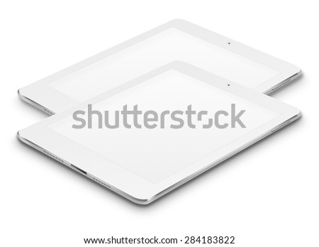 Realistic tablet computers ipade style mockup with blank screens isolated on white background. Highly detailed illustration. - stock photo