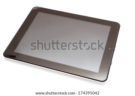 Realistic tablet pc computer with blank screen isolated on white background. - stock photo