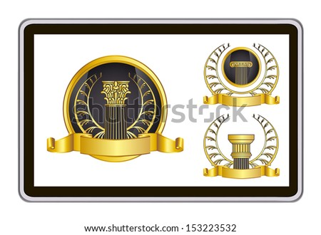 realistic tablet pc computer with gold laurel wreath and ribbon. bitmap