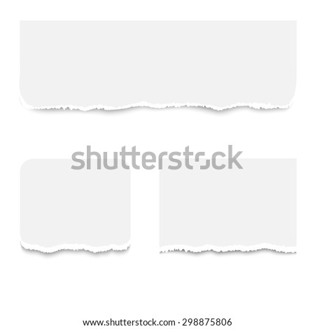 Realistic torn paper pieces, isolated on white background.