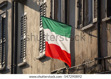 realistic view of the Italian flag in the street