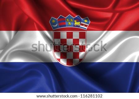 Realistic wavy flag of Croatia. - stock photo