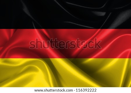 Realistic wavy flag of Germany.