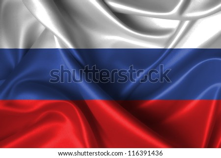Realistic wavy flag of Russia. - stock photo