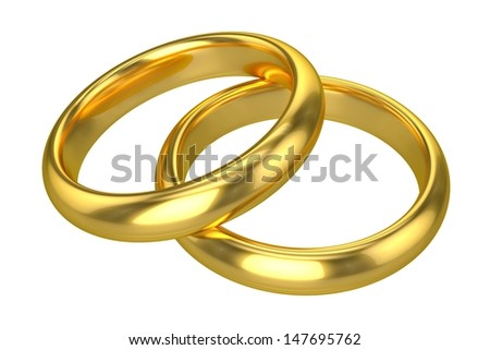 Realistic Wedding Rings - Gold - stock photo
