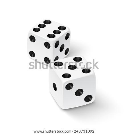Realistic white dice icon - stock photo