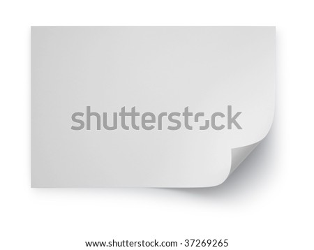 Realistic white note paper page curl on white background with soft shadow - stock photo