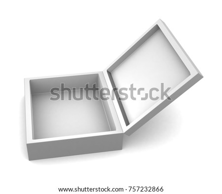 Realistic white open blank box for design and logo isolated on white background. 3d illustration