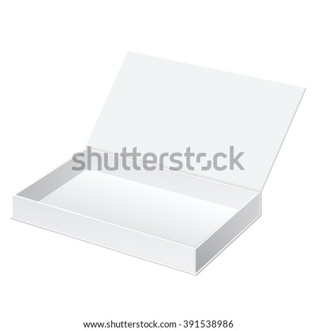 Realistic White Package Cardboard Box Opened. For gifts, jewelry, electronic device and other things.  Illustration. On separate layers box and label - stock photo