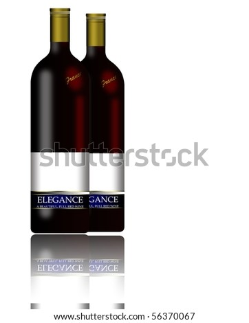 Realistic wine bottles with reflections - stock photo