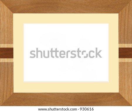 Realistic wooden picture frame, with bevel edge mount.  Mount color can be changed easily. - stock photo