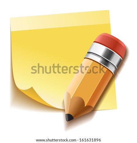 Realistic yellow stick note and pencil - stock photo