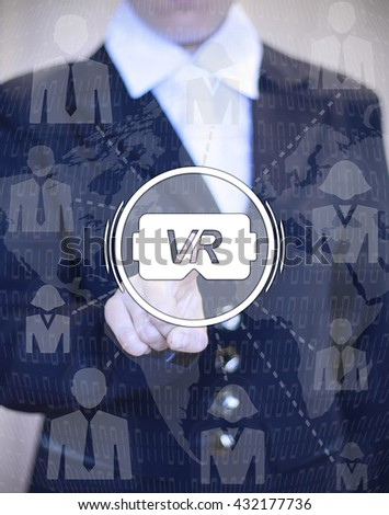 reality helmet glasses technology future button hand business engineering concept work company financial analysis on off costume number map figure woman man - stock photo