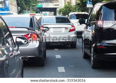 Really bad traffic congestion in the big city (Selective Focus) - stock photo