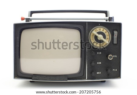 really cool retro vintage portable television shot against white - stock photo