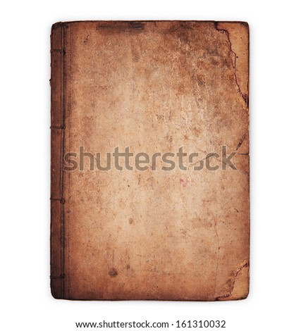 Really old book,isolated on white.  - stock photo