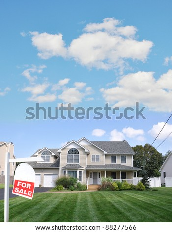 Realtor Red For Sale Sign on Lush Green Landscaped Front Yard Lawn of Large Beautiful Suburban Home in Residential District - stock photo