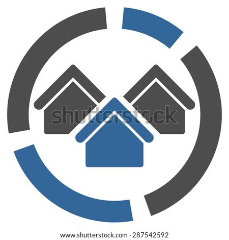 Realty diagram icon from Business Bicolor Set. Glyph style: bicolor flat symbol, cobalt and gray colors, rounded angles, white background. - stock photo