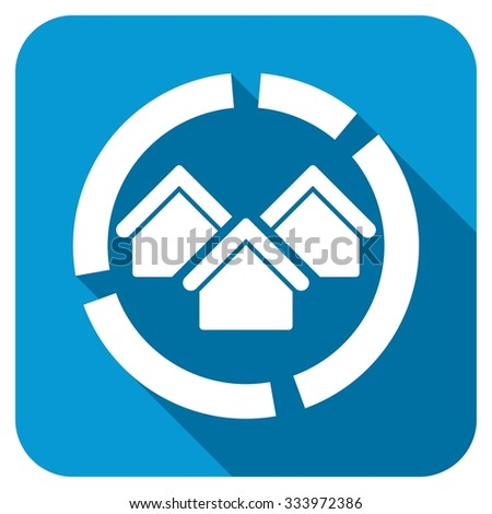 Realty diagram icon. Longshadow style is blue button with white symbol. - stock photo
