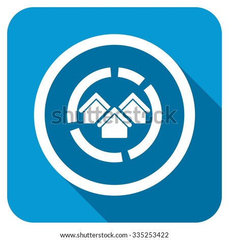 Realty diagram longshadow icon. Style is a blue rounded square button with a white rounded symbol with long shadow. - stock photo