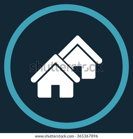 Realty glyph icon. Style is bicolor flat circled symbol, blue and white colors, rounded angles, dark blue background. - stock photo
